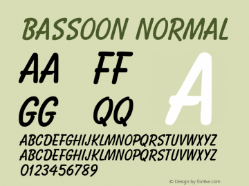 Bassoon Normal 1.0 Tue Nov 17 22:19:11 1992 Font Sample