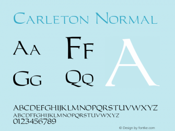 Carleton Normal 1.0 Tue Nov 17 23:10:17 1992 Font Sample