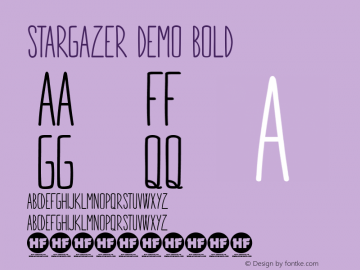 STARGAZER demo Bold Version 1.000 Font Sample