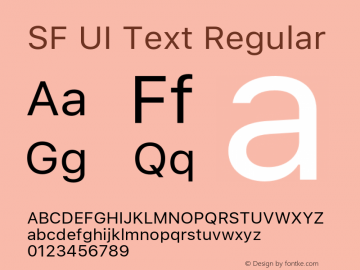 SF UI Text Regular 11.0d45e1--BETA Font Sample