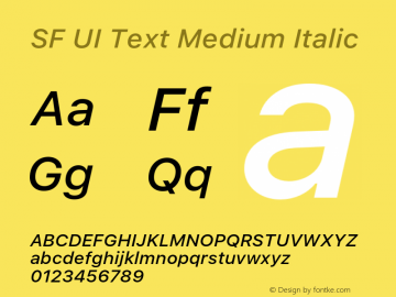 SF UI Text Medium Italic 11.0d45e1--BETA Font Sample
