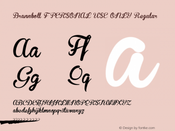 Brannboll F PERSONAL USE ONLY Regular Version 001.000 Font Sample