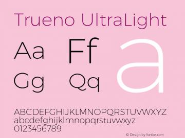 Trueno UltraLight Version 3.001 Font Sample