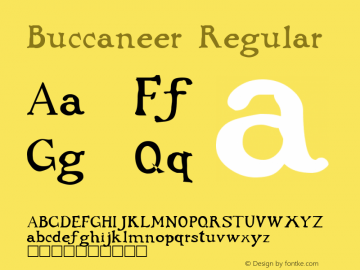 Buccaneer Regular Altsys Fontographer 3.5  10/1/92 Font Sample