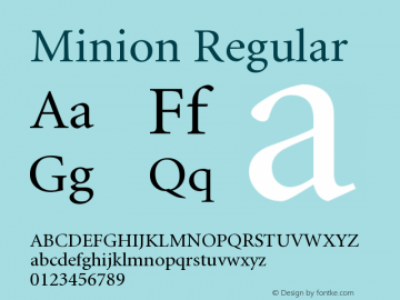 Minion Regular Version 001.001 Font Sample