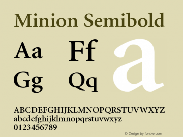 Minion Semibold Version 001.001 Font Sample