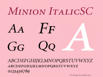 Minion ItalicSC Version 001.001 Font Sample