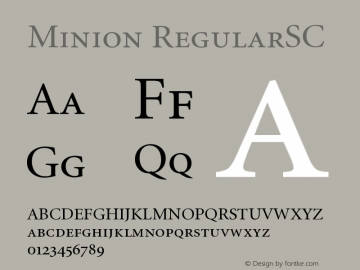 Minion RegularSC Version 001.001 Font Sample