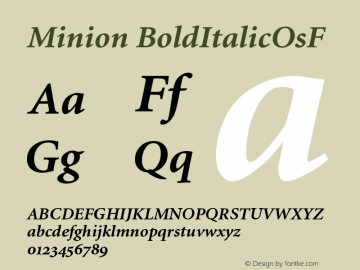 Minion BoldItalicOsF Version 001.001 Font Sample