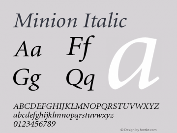Minion Italic Version 001.001 Font Sample