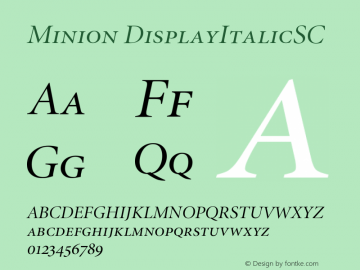 Minion DisplayItalicSC Version 001.001 Font Sample