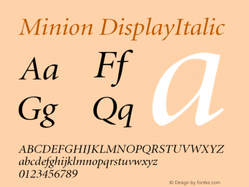 Minion DisplayItalic Version 001.001 Font Sample