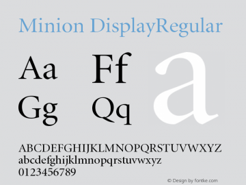 Minion DisplayRegular Version 001.001 Font Sample
