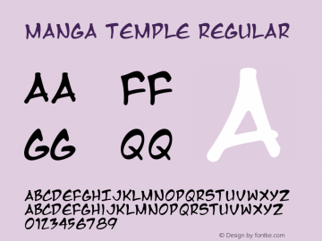 Manga Temple Regular Macromedia Fontographer 4.1 2/14/01 Font Sample