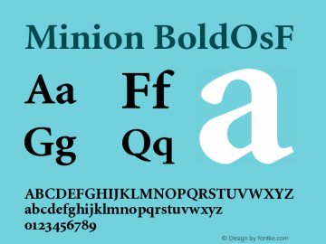 Minion BoldOsF Version 001.001 Font Sample