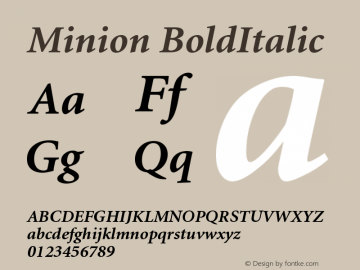 Minion BoldItalic Version 001.001 Font Sample