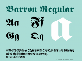 Barron Regular Rev. 003.000 Font Sample