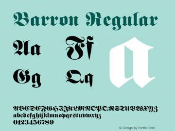 Barron Regular Rev. 003.000 Font Sample