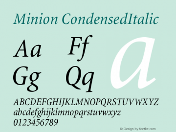 Minion CondensedItalic Version 001.000 Font Sample