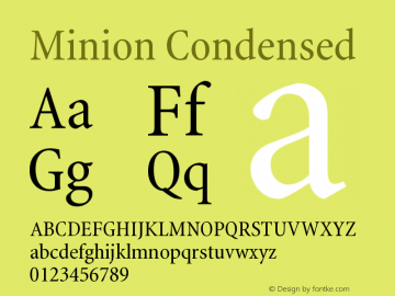 Minion Condensed Version 001.000 Font Sample