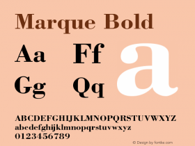 Marque Bold Version 001.000 Font Sample