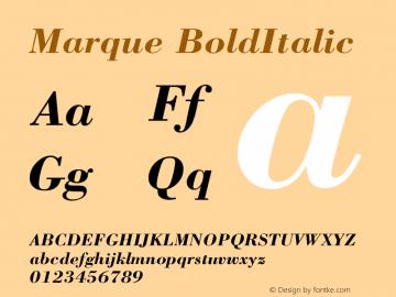 Marque BoldItalic Version 001.000 Font Sample