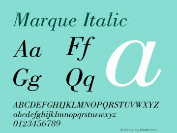 Marque Italic Version 001.000 Font Sample