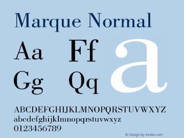 Marque Normal Version 001.000 Font Sample