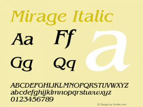 Mirage Italic Version 001.000图片样张