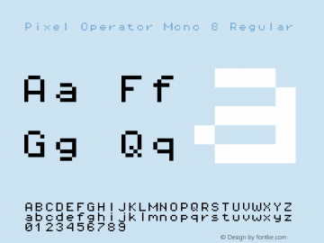 Pixel Operator Mono 8 Regular Version 1.4.0 (August 12, 2015) Font Sample