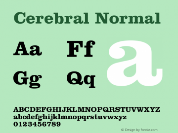 Cerebral Normal Version 001.000 Font Sample