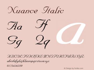Nuance Italic 1.0 Sat Dec 05 16:36:33 1992 Font Sample