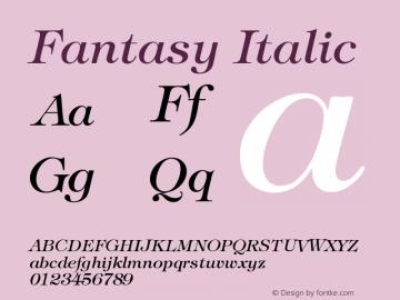 Fantasy Italic Version 001.000 Font Sample