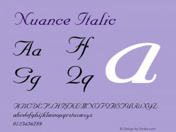 Nuance Italic v1.0c Font Sample