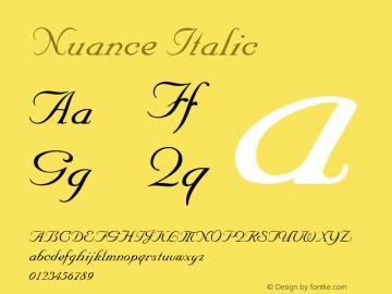 Nuance Italic 001.003 Font Sample