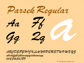 Parsek Regular Converted from H:\PARSEK.TF1 by ALLTYPE Font Sample
