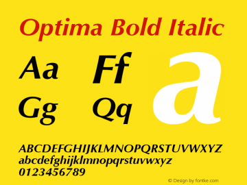 Optima Bold Italic 1.0d19 Font Sample