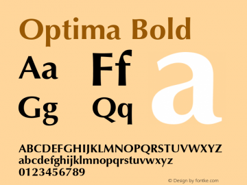 Optima Bold 1.0d19 Font Sample