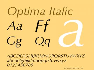 Optima Italic 1.0d19 Font Sample