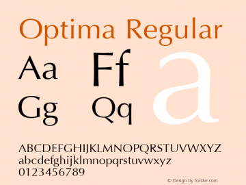 Optima Regular 1.0d19 Font Sample
