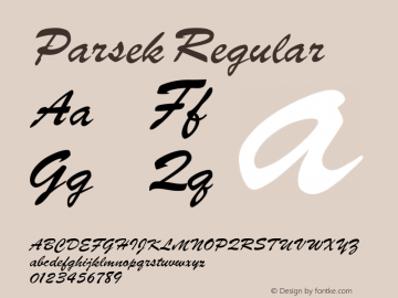 Parsek Regular Converted from t:\PARSEK.TF1 by ALLTYPE Font Sample