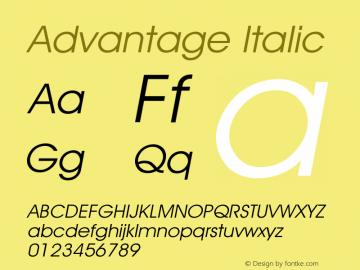 Advantage Italic Version 001.000 Font Sample