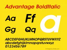 Advantage BoldItalic Version 001.000 Font Sample