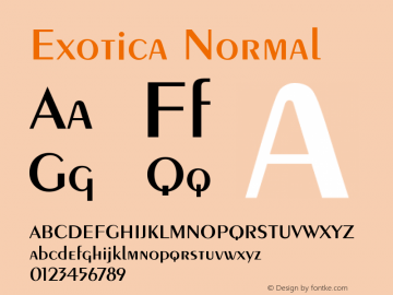 Exotica Normal Version 001.000 Font Sample