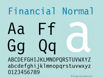 Financial Normal Version 001.000 Font Sample