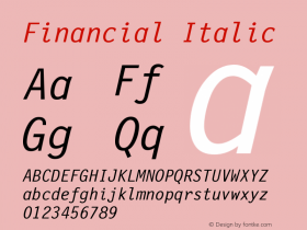 Financial Italic Version 001.000 Font Sample