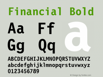 Financial Bold Version 001.000 Font Sample