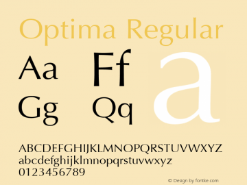 Optima Regular 5.0d1 Font Sample