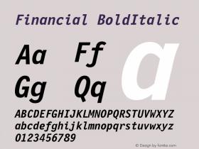 Financial BoldItalic Version 001.000 Font Sample