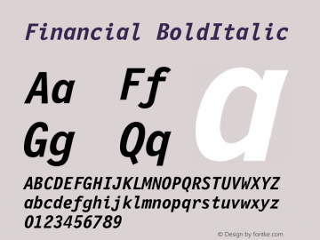 Financial BoldItalic Version 001.000 Font Sample